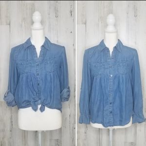 Pleated  Button Front Shirt Style & Co.
